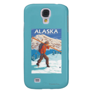 Skier Carrying Snow Skis- Vintage Travel 3 Galaxy S4 Case