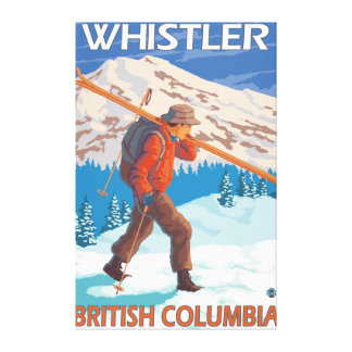 Skier Carrying Snow Skis - Whistler, BC Canada Canvas Print