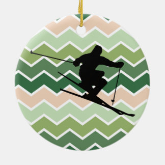 Skier Ceramic Ornament