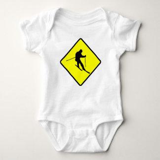 Skier Crossing Sign Baby Bodysuit