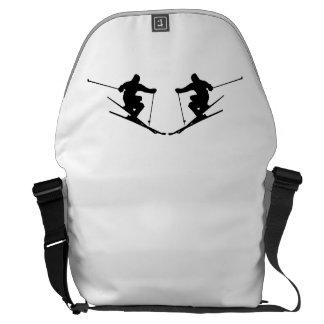 Skier Mirror Image Messenger Bags