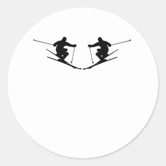 Skier Mirror Image Round Stickers