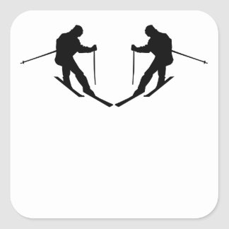 Skier Mirror Image Square Stickers