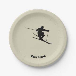 Skier Paper Plate