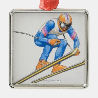 Skier Performing Jump Metal Ornament