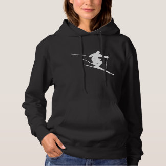 Skier Silhouette Skiing Hoodie