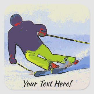 Skier Silhouette Square Sticker