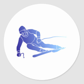 Skier skis classic round sticker