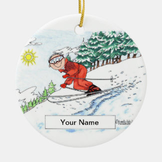 Skier, Snow - Male Ceramic Ornament