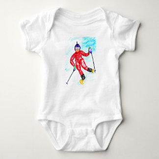 Skier Sport Illustration Baby Bodysuit