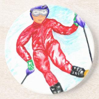 Skier Sport Illustration Coaster