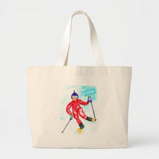 Skier Sport Illustration Large Tote Bag
