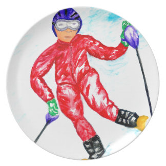 Skier Sport Illustration Plate