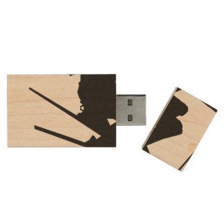 Skier Wood USB Flash Drive