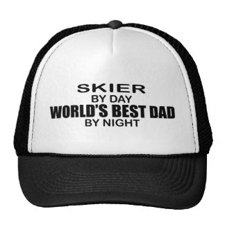 Skier - World's Best Dad by Night Mesh Hats