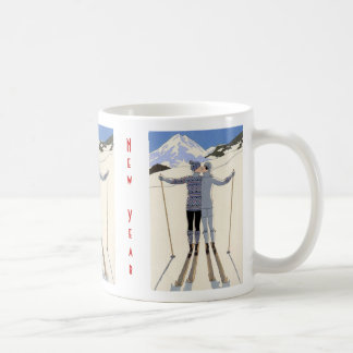 Skiers kiss - Happy New Year Coffee Mug