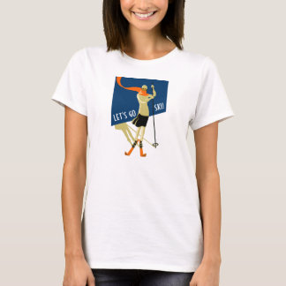 Skiers, Let's go ski! Vintage, retro T-Shirt
