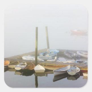 Skiffs and morning fog in Southwest Harbor, Square Sticker