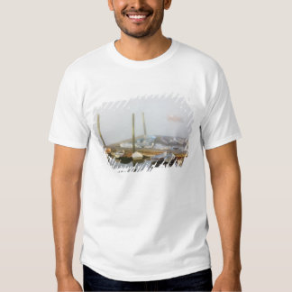 Skiffs and morning fog in Southwest Harbor, T-shirts