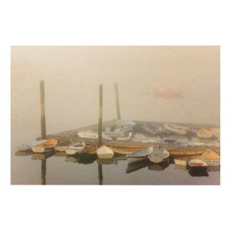 Skiffs and morning fog in Southwest Harbor, Wood Prints