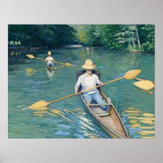 Skiffs by Gustave Caillebotte Poster