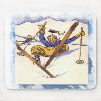 Skiing -A bit of a tumble Mousepads