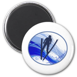 Skiing and Snowflakes Magnet