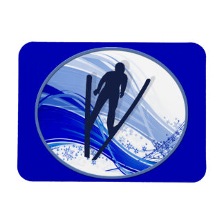 Skiing and Snowflakes Rectangle Magnets