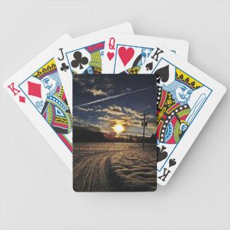 skiing at sunset poker deck