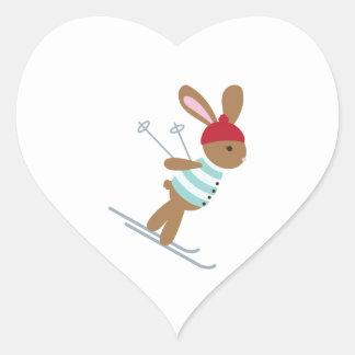 Skiing Bunny Heart Sticker