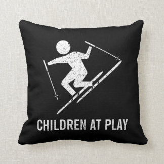 Skiing Children At Play Cushion