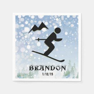 Skiing Design Paper Napkins Disposable Napkin