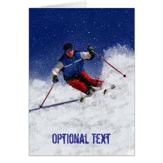 Skiing Down the Mountain - Customizable Card