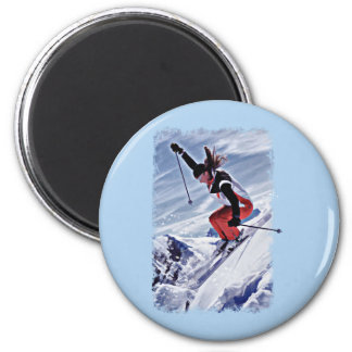 Skiing Down the Mountain in Red Magnets
