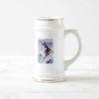 Skiing Down the Mountain in Red Coffee Mug