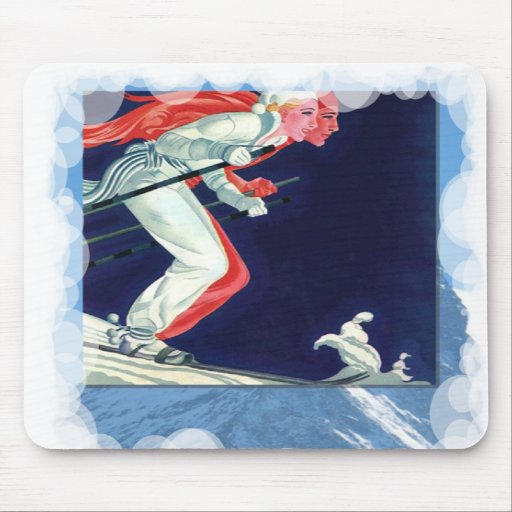 Skiing -Downhill racers Mouse Pad