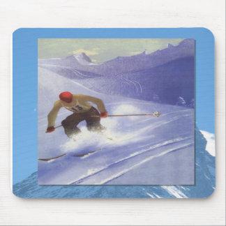Skiing -Downhill ski racer Mousepad