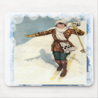Skiing -First time skier Mouse Pad