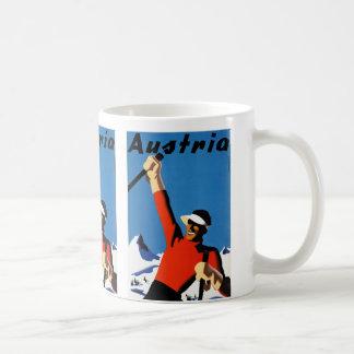 Skiing in Austria Vintage Travel Poster Coffee Mug
