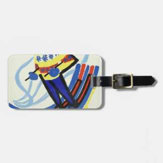 Skiing In France Vintage Luggage Tag