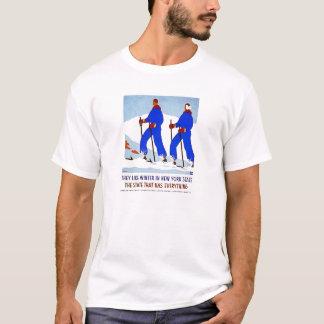 Skiing in NewYork Vintage Poster T-Shirt