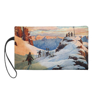 Skiing in the Mountains Wristlet Purses