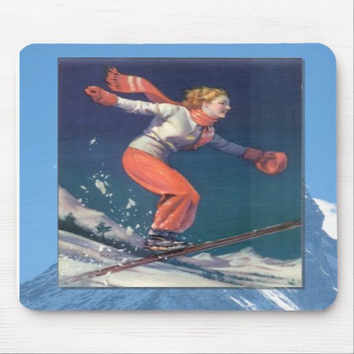 Skiing -Jumping doxn ther slopes Mousepads