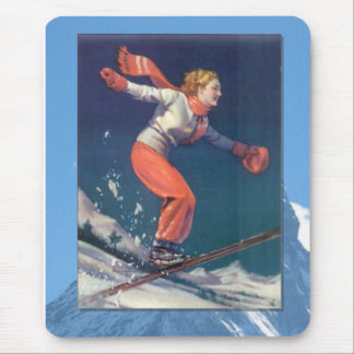 Skiing -Jumping doxn ther slopes Mouse Pad