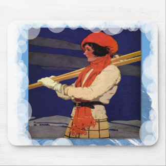Skiing -Lady with skiis Mouse Pad