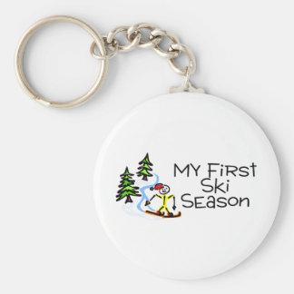 Skiing My First Ski Season Basic Round Button Key Ring