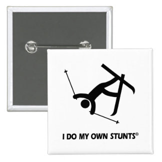 Skiing My Own Stunts Pinback Buttons