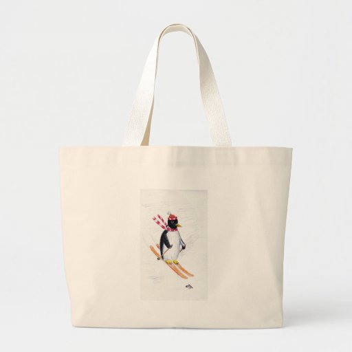 Skiing Penguin Tote Bags
