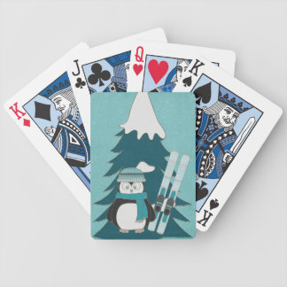 Skiing Penguin Bicycle Playing Cards