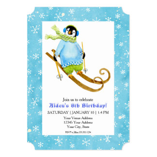Skiing Penguin Birthday Party Ski Falling Snow Card